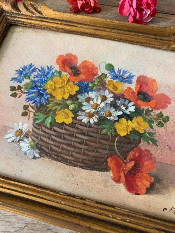 ancienne peinture fleurs bouquet champêtre debut xxème