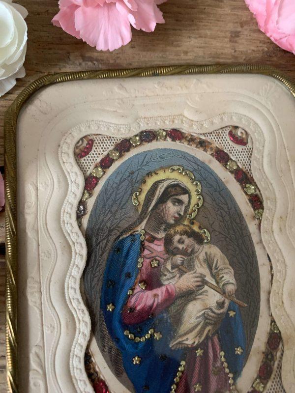 ancien cadre canivet xixeme vierge marie enfant jesus