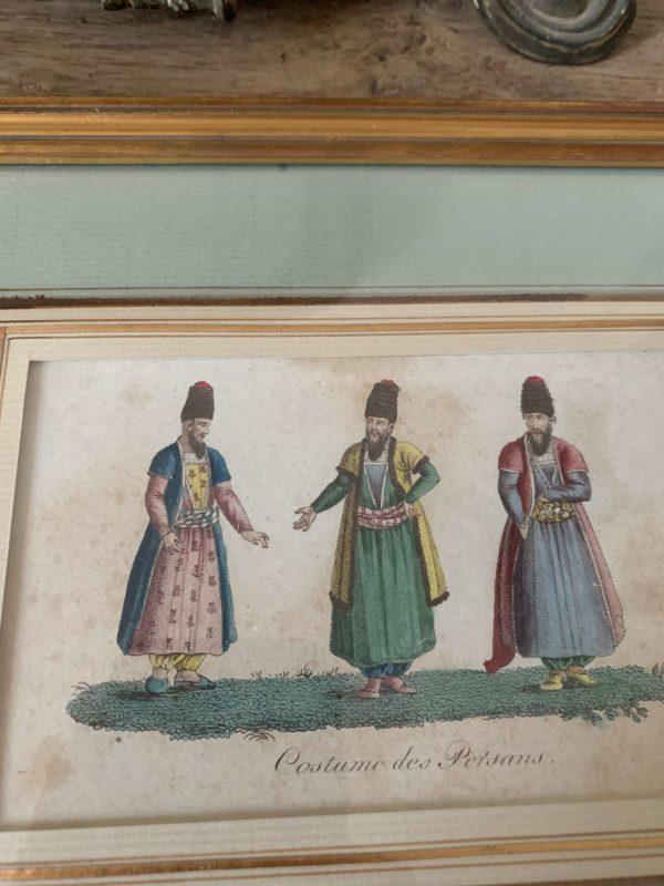 ancienne gravure costume de persans debut xixeme