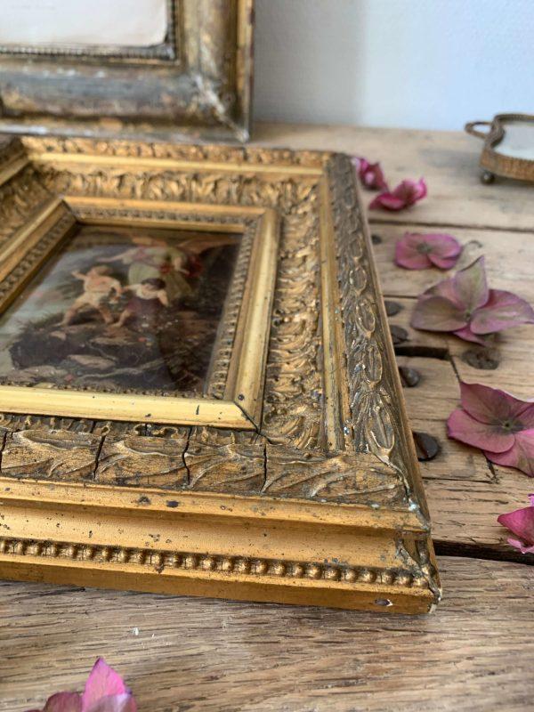 ancien fixé sous verre ange gardien 1900
