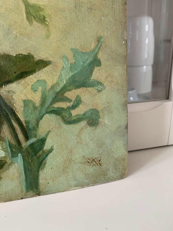 ancienne huile sur carton anémones
