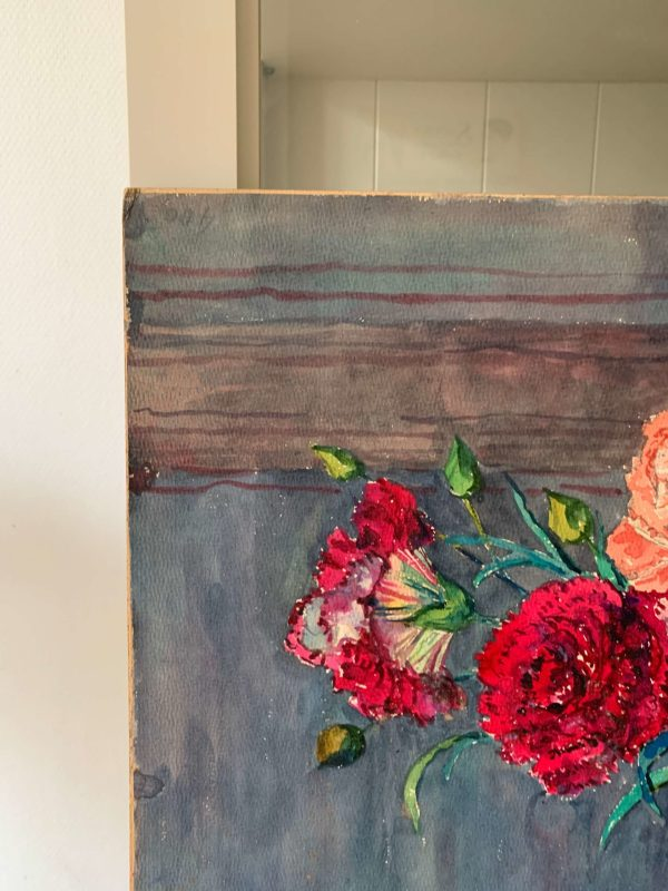 ancienne peinture fleurs aquarelle marguerite beauzée Reynaud