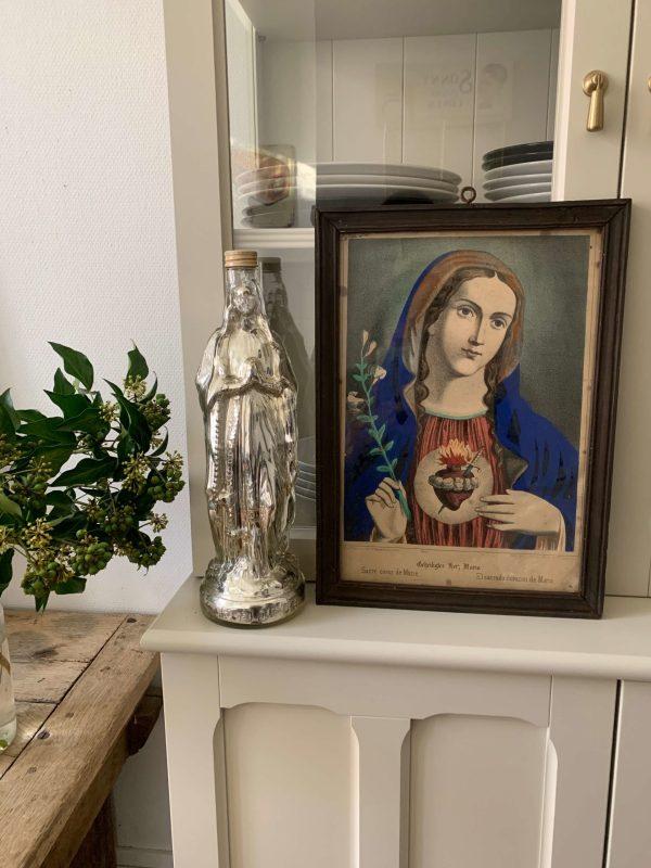 ancienne bouteille notre dame de lourdes mercure eau bénite et gravure coeur de marie xixeme