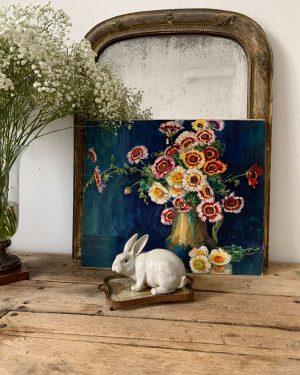 ancienne peinture à l'aquarelle fleurs marguerite beauzée reynaud