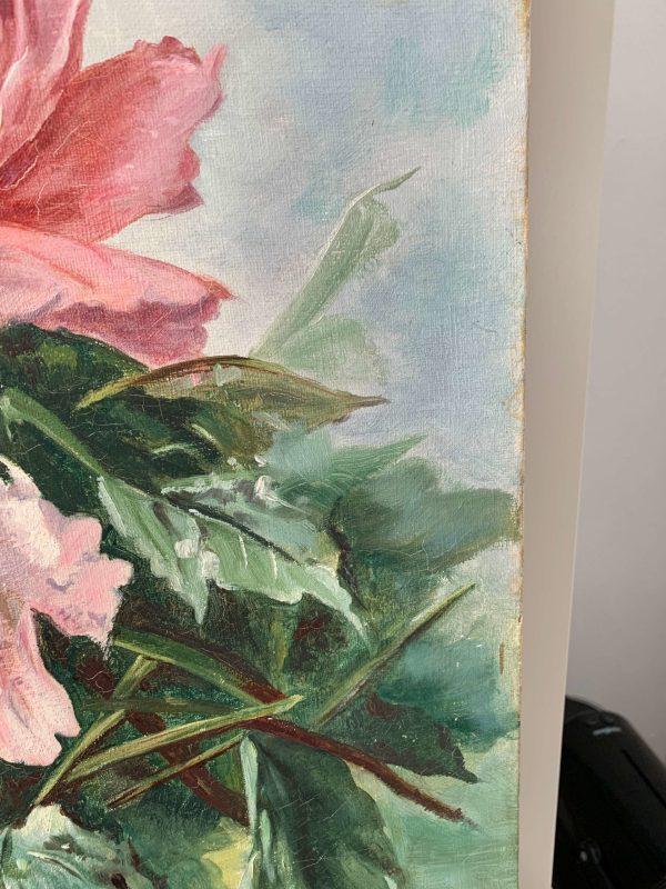 ancienne huile sur toile peinture pivoines