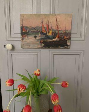 ancienne peinture à l'huile toile marine port de pêche