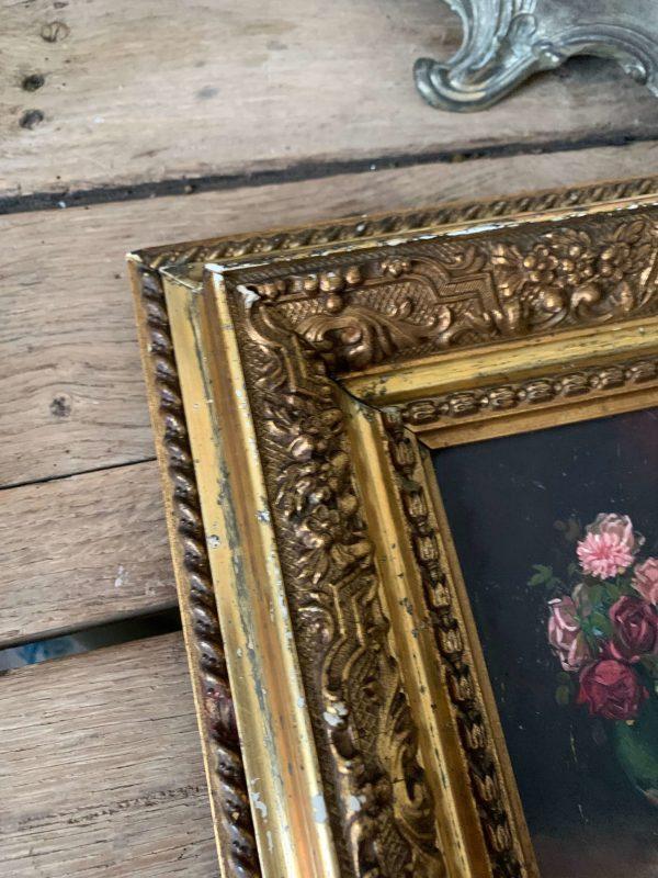ancienne peinture de fleurs huile sur panneau cadre ancien vers 1900