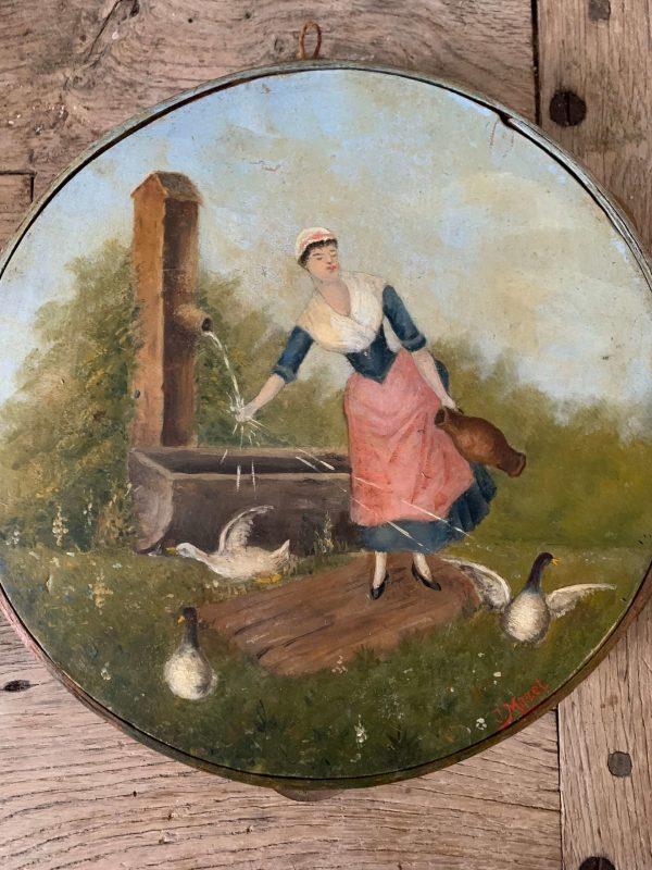 ancien tambourin peint femme canard deco 1900