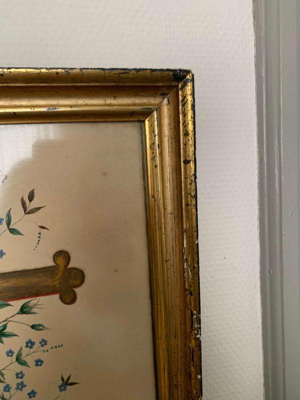 peinture ancienne aquarelle croix fleurie fleurs