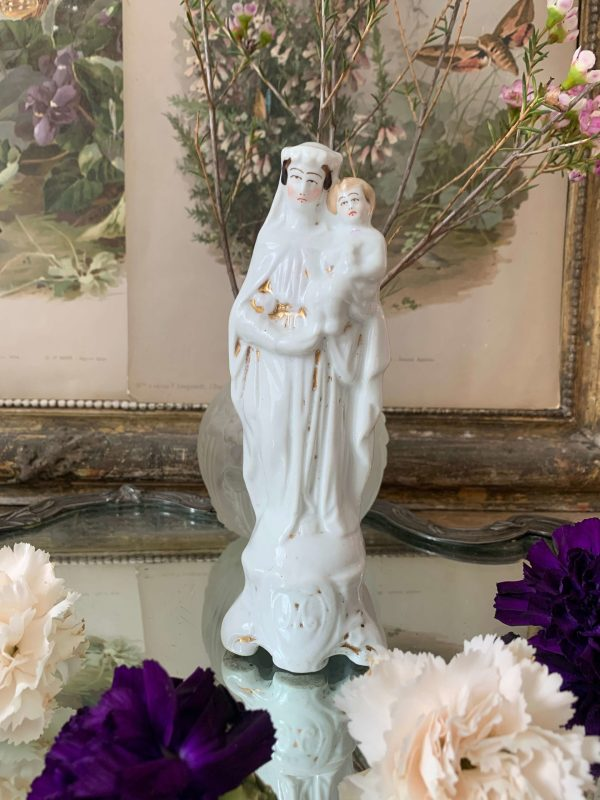 ancienne vierge à l'enfant en porcelaine de paris