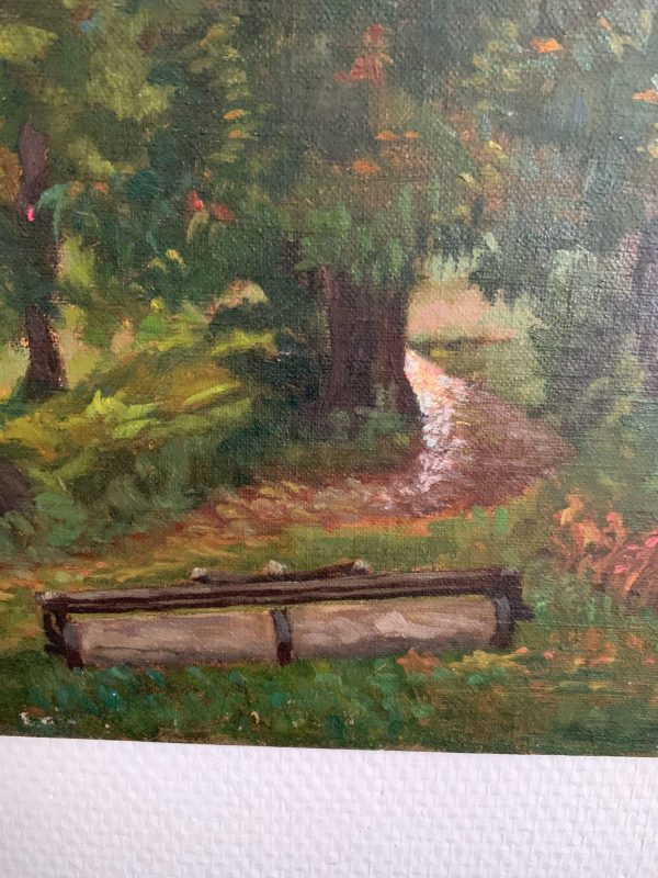 ancienne peinture à l'huile 1900 paysage nature