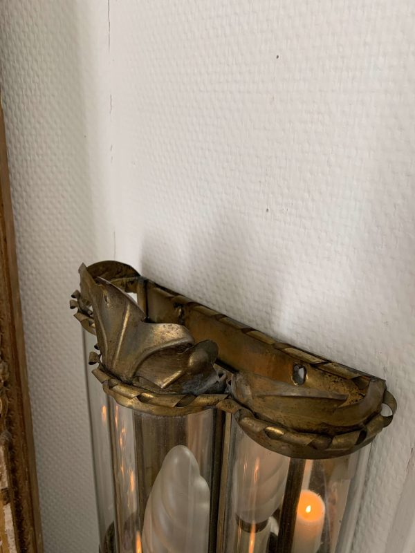 ancienne applique en laiton et verre vintage benoit guyot