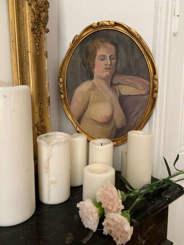 ancienne peinture femme nue art deco