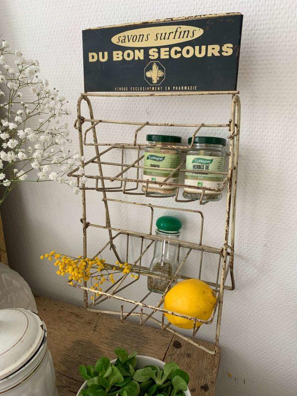 ancien présentoir de pharmacie en métal savon au bon secours