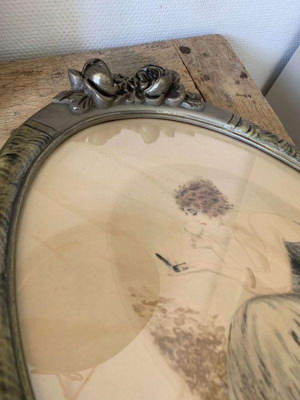 ancienne gravure art déco femme cadre roses