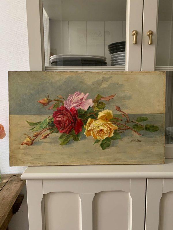ancienne huile sur toile fleurs roses tableau 1900