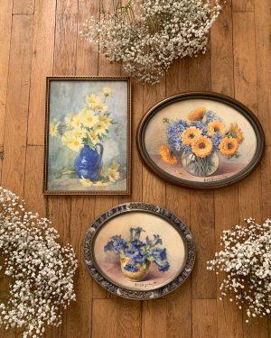 peintre fleurs ancienne aquarelle Edith Buguet art déco