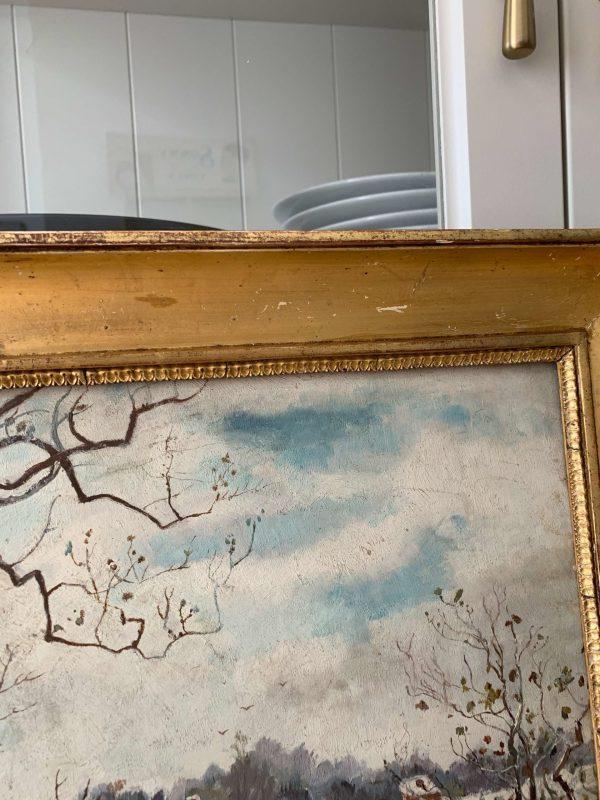 ancienne peinture à l'huile paysage de neige lapins xixème