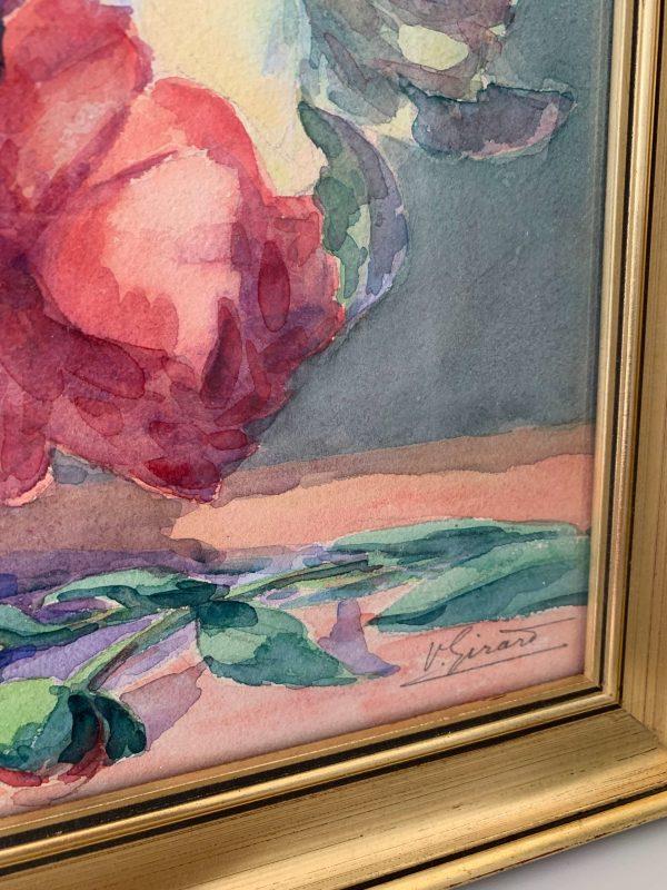 ancienne peinture de fleurs aquarelle roses