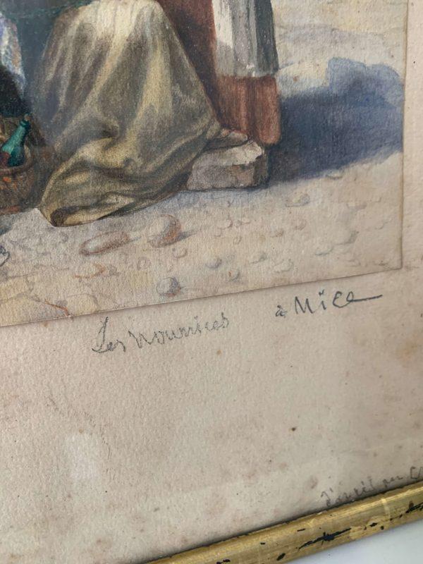 ancienne peinture aquarelle nourrices à nice xixeme