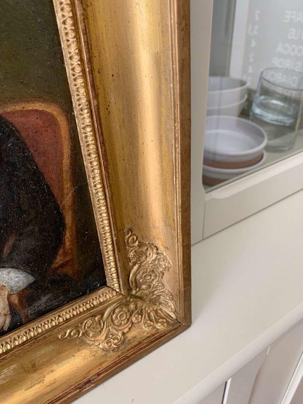 ancien tableau de femme marouflé cadre xixeme