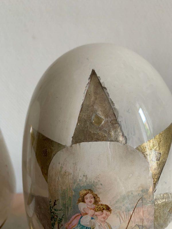 anciennes boules à perruques xixeme verre soufflé chromos