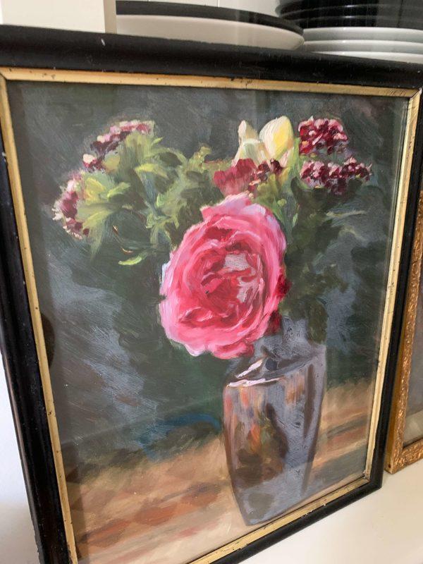 peinture de fleurs ancienne à l'huile roses début XXème