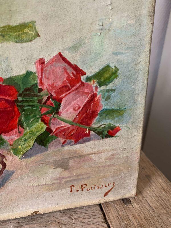 ancienne-huile-sur-toile-roses