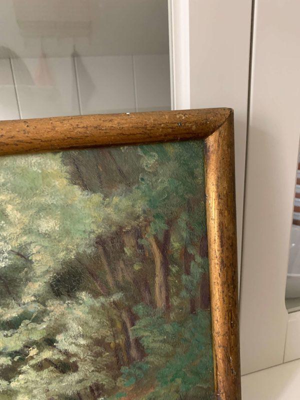 ancienne peinture à l'huile paysage vers 1900