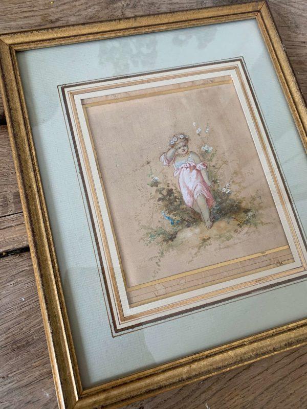 ancienne peinture sur soie fillette ange xixeme