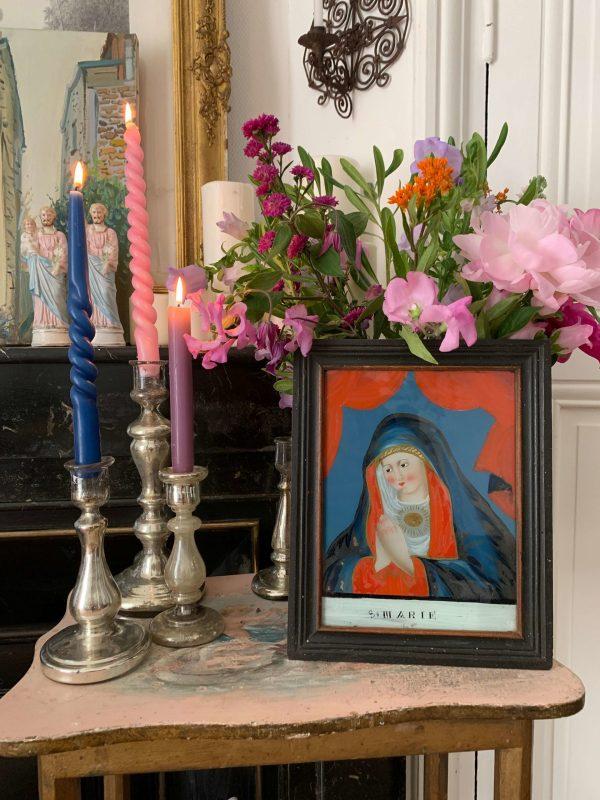 ancienne peinture religieuse sous verre marie xviiieme