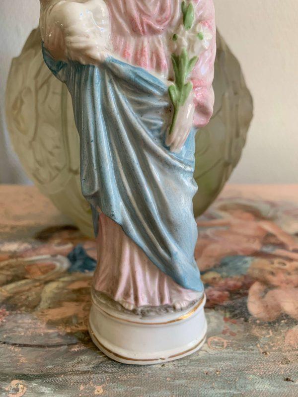 ancienne statuette st joseph biscuit couleur pastel 1900