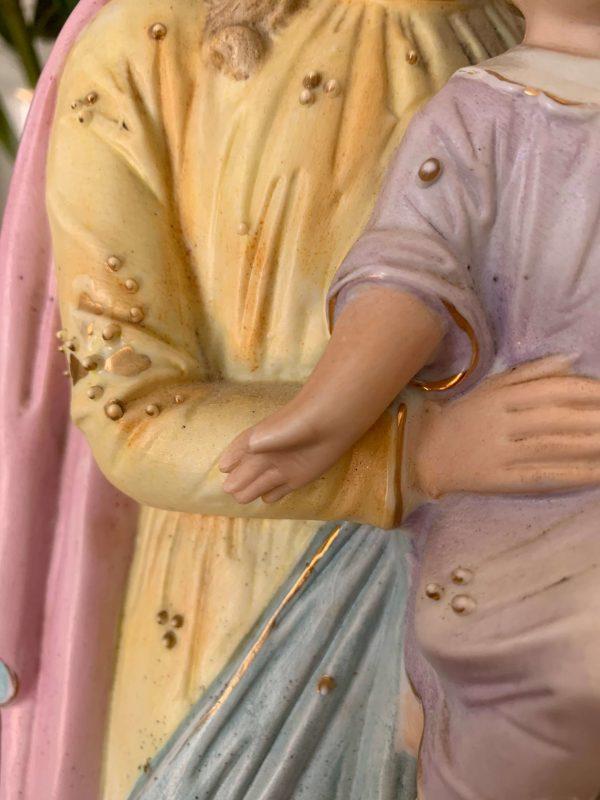 statuette ancienne vierge à l'enfant en biscuit polychrome 1900