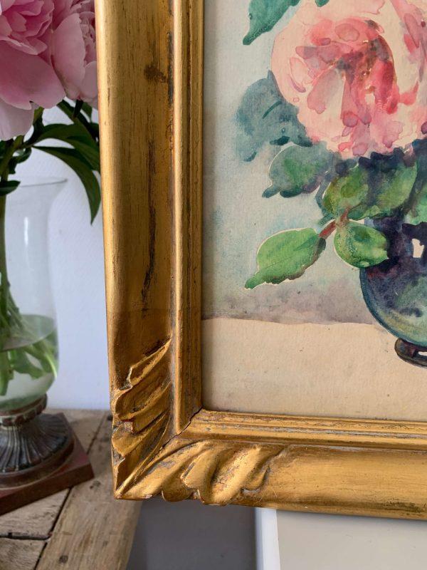 ancienne peinture à l'huile fleurs aquarelles roses pastels