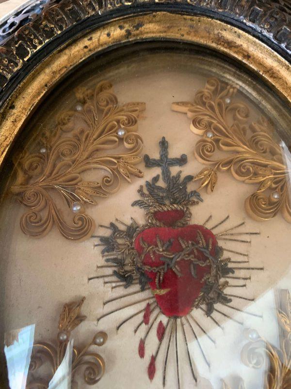 ancien cadre ex voto xixeme coeur sacré napoléon III