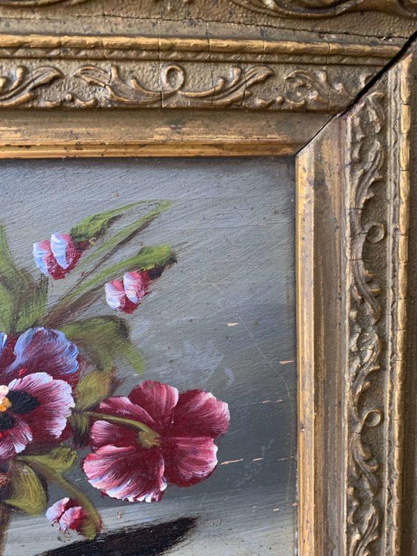 ancienne peinture de fleurs pensées vers 1900