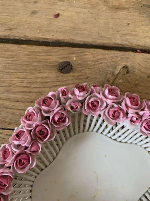 ancienne coupelle vide poche en porcelaine de Plaue roses fleurs etoile et ronde