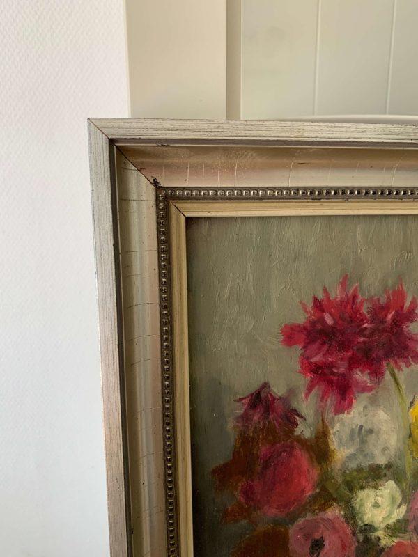 ancienne huile sur panneau de fleurs