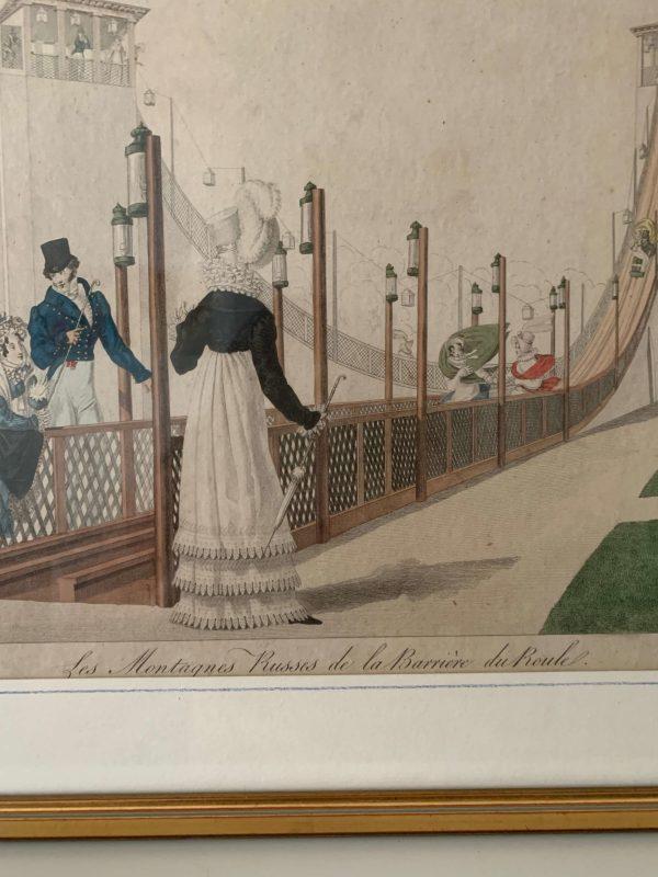 ancienne gravure debut xixeme montagne russe de la barrière du roule paris