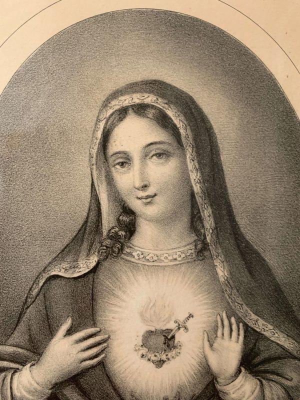ancienne gravure sacrés coeurs de Jésus et de Marie xixeme siècle