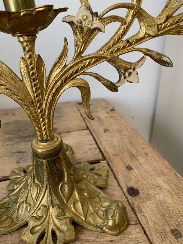 ancien chandelier en laiton doré fleurs de lys xixeme