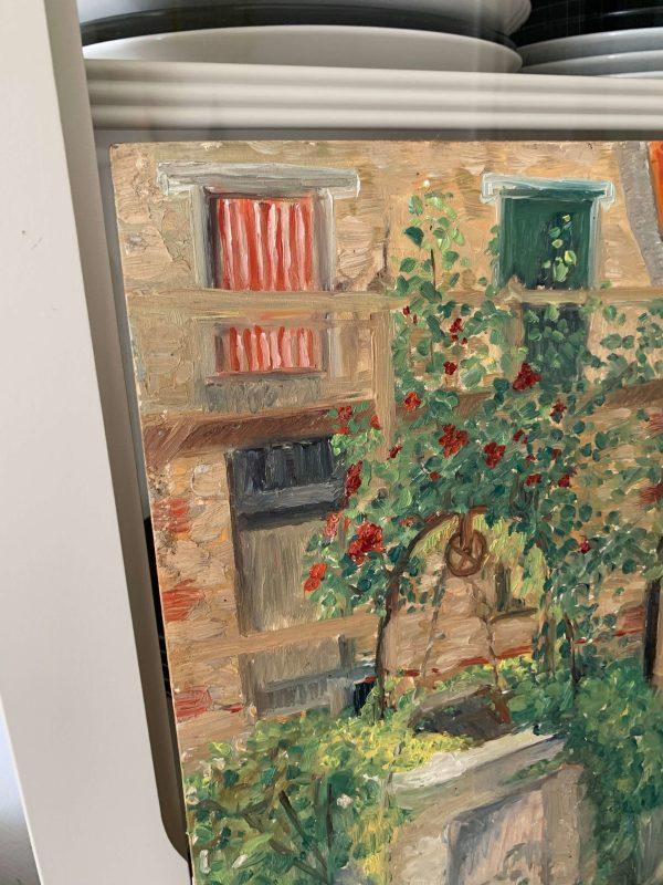 ancienne peinture à l'huile sur bois paysage puit