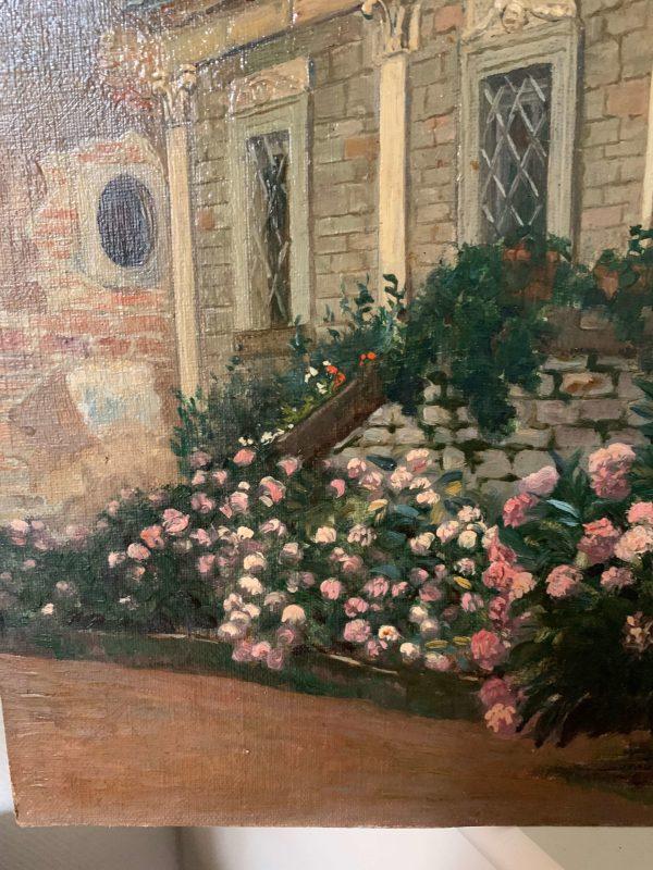 ancienne peinture à l'huile maion bouregoise fleurs debut xxeme