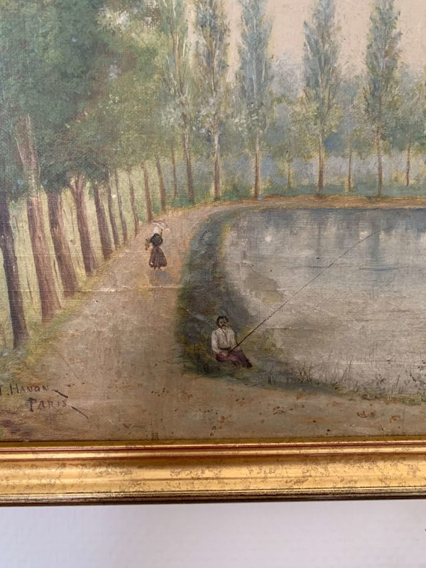 ancienne huile sur toile paysage xixeme