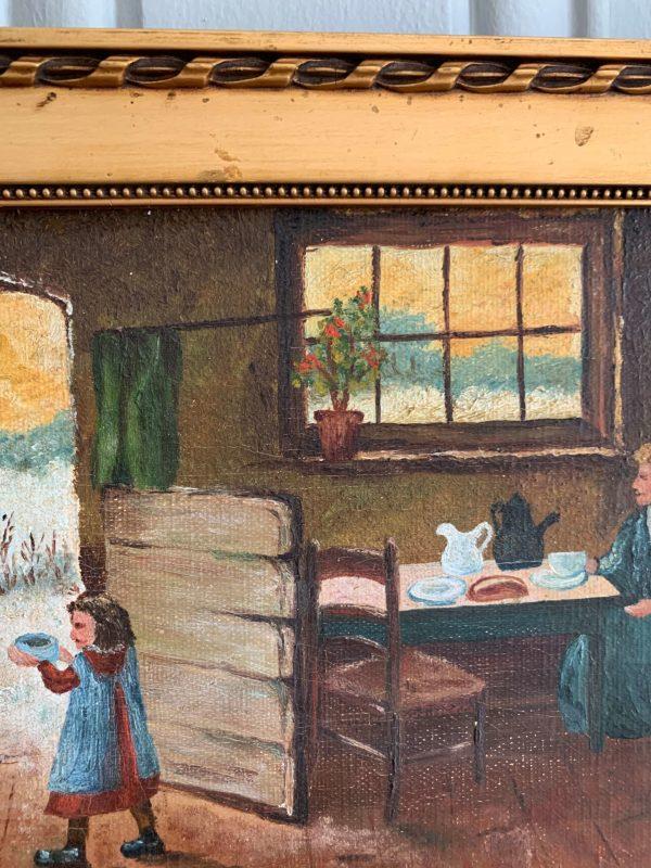 ancienne peinture à l'huile sur toile debut xxème scène d'intérieur