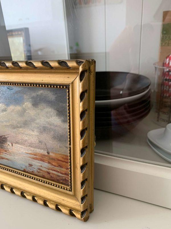 ancienne peinture à l'huile marine xixeme