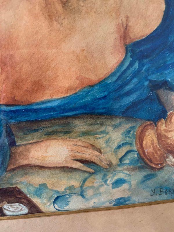 ancienne peinture aquarelle femme robe bleue