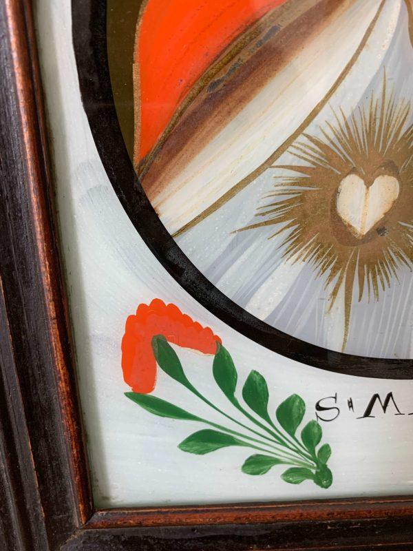 ancienne peinture fixé sous verre vierge marie vers 1800