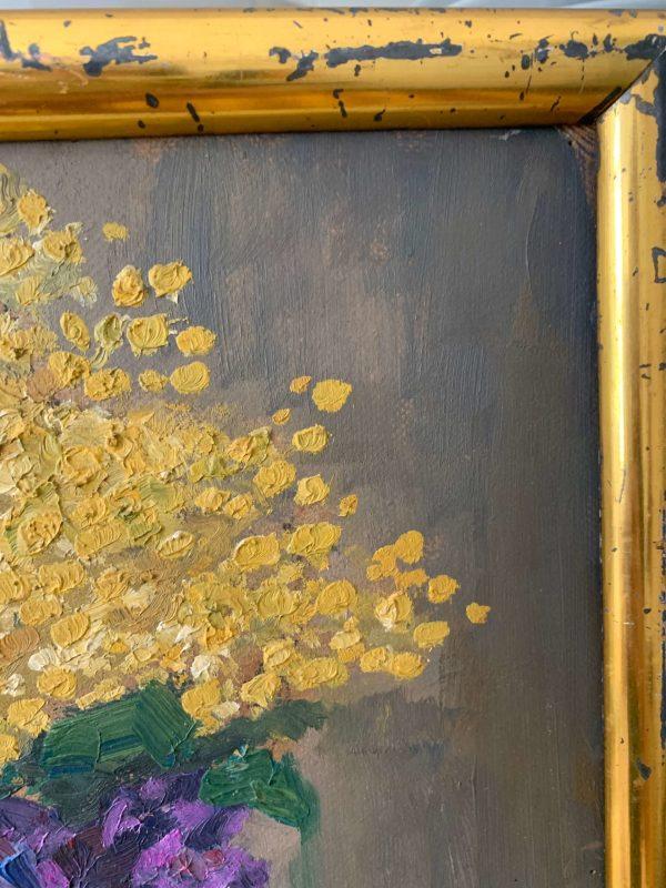 ancienne peinture à l'huile fleurs mimosa et violette début XXème