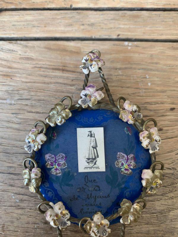 Ancien cadre fleurs émaillés art nouveau religieux